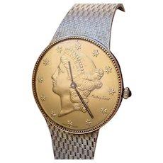 Vintage Mathey Tissot Liberty Dial 14K Gold Watch.
