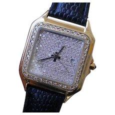 Generic 14K Gold & Pave` Diamonds Watch, Similar To Cartier Panther.