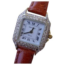 Geneve 18K Gold & Diamonds Ladies Watch, Similar To Cartier Panther.