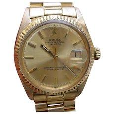 18K Gold Rolex Datejust 1601 w/ Original 18K Gold Rolex President Bracelet.
