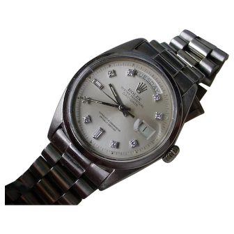 Ultra RARE Vintage Rolex President Model 1802 Day Date WHITE GOLD