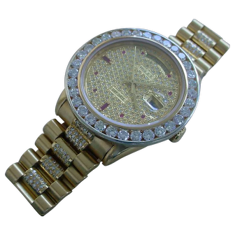 Rolex Day Date Q.S. 18038, About 8 Carats in Diamonds, 5 Carat Diamond Bezel.