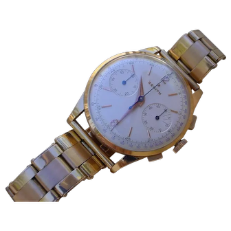 Vintage 1950s Zenith 18K Gold Chronograph cal. 156. TIME CAPSULE WATCH!!