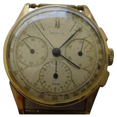 RARE Zenith COMPAX 3 Register Chronograph in 18K Yellow Gold