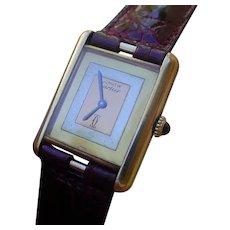 Vintage Gents Cartier Tank Vermeil Case, 3 Gold Colors Dial, Mechanical Movement