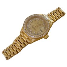 Beautiful Ladies Rolex President 69178, 18K Gold, Diamond Dial & Bezel.
