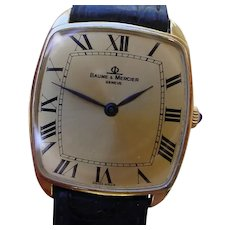 Baume & Mercier 18K Gold Gents Watch, Large Roman Numerals.