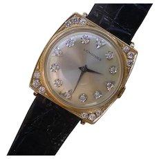 Beautiful Diamond Set Vintage Longines 14K Gold.