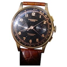 Chronograph Suisse 18K Gold, Glossy Black Gilt Dial.
