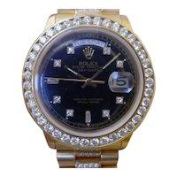 Rolex Day Date Q.S. 18038, About 4.8 Carats in Diamonds, 2.8 Carat Dia. Bezel.