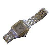 Ladies Cartier Panther, 2 Rows Of 18K Gold Links
