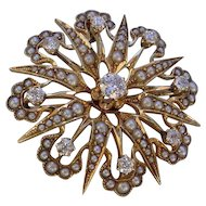 Beautiful Antique 14K Gold Seed Pearls and Diamonds Brooch/Pendant