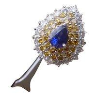 Gorgeous Platinum Ladies Ring w/ White & Champagne Diamonds, 1.03 Ct. Pear Sapphire.