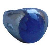 Vintage Platinum & Star Sapphire Ring. Approx. 9.94 Carat. Medium Dark Slightly Grayish Blue.