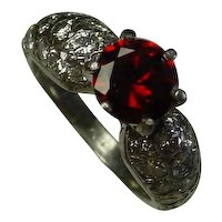 Beautiful Platinum Ring,1 Carat Red Garnet, 1.5 Carat In Diamonds.