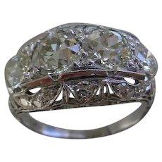 Old European Cut Diamond Edwardian Style Dinner Ring 3.46 CTW