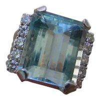 Beautiful 10 Carat Aquamarine Set In 14K Gold Ring w/ 10 Diamonds.
