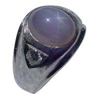 Vintage 14K White Gold Ring w/ 7.80 Carats Star Sapphire & 2 Diamonds