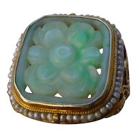 Antique Arts and Crafts 14K Gold & Carved Jadite Jade Ring w/Seed Pearls