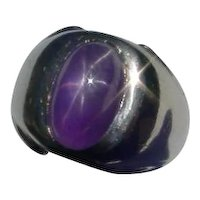 Vintage 14K Gold Ring, Plum Star Sapphire, Close to 7 Cts.
