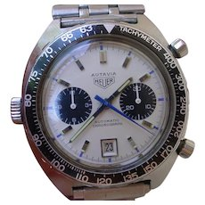 Vintage 1969/1970 Heuer Autavia 1163 Siffert w/RARE Mk 3 Dial and Original Box.