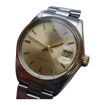 Collectible Rolex Air King Date 5701, Stainless Steel 14K Gold Bezel