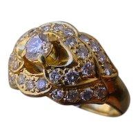 Beautiful 18K Gold Ring Set with 35 Diamonds, 1.27 Carats Total Diamond Weight.