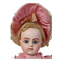 "Stunning 18"" Bru Jne R 7  Antique Doll W/Original Couture Silk Dress, Hat, Wig - Layaway"