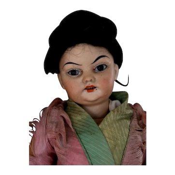 "12""  Oriental Child Doll circa 1895 Attributed to Schoenau & Hoffmeister in Antique Kimono"