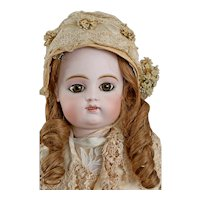 French Bisque Bebe by Gaultier 11 2 row teeth scroll with an antique toy Cat