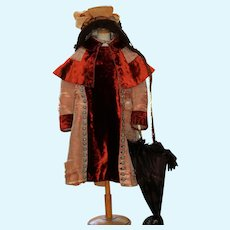 Beautiful Antique French Coat, Parasol nd Hat  for Bebe's (28-32 inches)