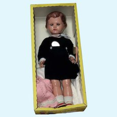 "28"" Celluloid doll by Schildkröte  Ursel in original carton and clothes"