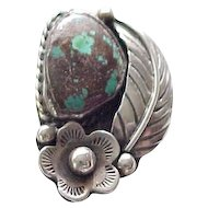 Native American Sterling Ring - Fab Turquoise - size 7 1/2