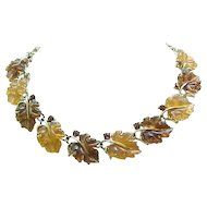 Iconic Lisner Oak Leaf Necklace - Amber, Topaz