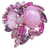 Fabulous Pink Art Glass and Rhinestone Brooch