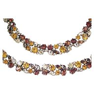 Superb Lisner Rhinestone Necklace, Bracelet - Earth Colors