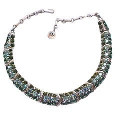 Spectacular Lisner Rhinestone Necklace, Brooch - Shades of Green