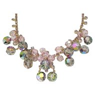 Pink Juliana Necklace and Bracelet - Rhinestones and Crystals - Fantasia
