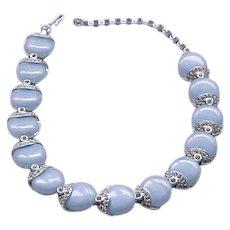 Kramer Blue Thermoset and Rhinestone Necklace, Bracelet - Gorgeous