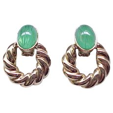 06 - Chunky Clip Earrings - Flawed Emerald Rhinestones