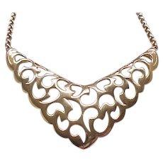 Pretty Trifari Open Work Goldtone Necklace