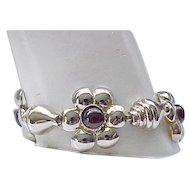 Gorgeous Sterling and Garnet Bracelet, Earrings