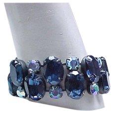 Spectacular Sapphire Blue Rhinestone Bracelet - Runway