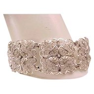 Superb Alice Caviness Sterling Silver Filigree Bracelet