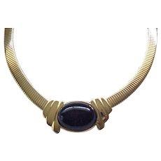 Classic Trifari Necklace - Black Cabochon Center, Flex Chain