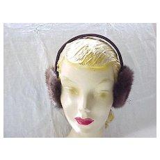 Cozy Mink Ear Muffs - Deep Brown - Like New