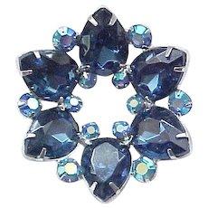 Gorgeous Deep Sapphire Blue Teardrop Pin and Earrings