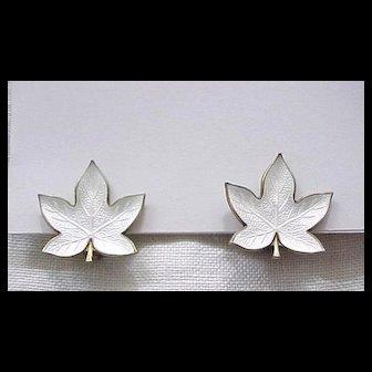 Exquisite Denmark Sterling, Enamel Maple Leaf Earrings