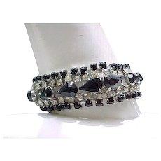 Elegant Rhinestone Bracelet, Earrings - Diamante and Black