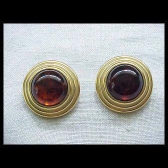 06 - Chunky YSL Clip Earrings - Yves St. Laurent